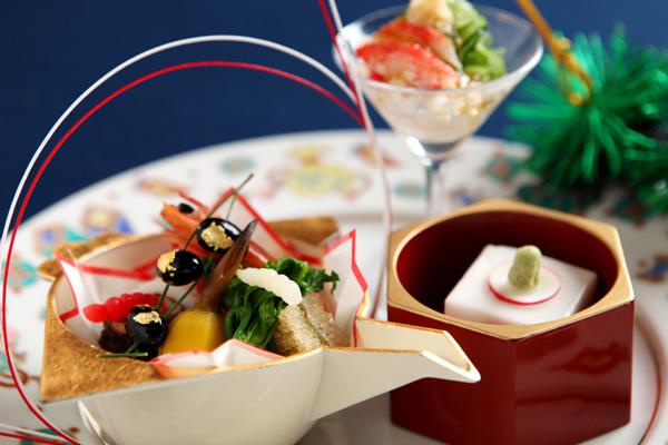 祝肴(蟹酢、紅白なます、鰻八幡巻き、子持ち昆布、白胡麻豆腐 他)